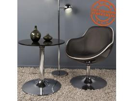 Zwarte design zetel 'KOK' met draaibare zitschaal