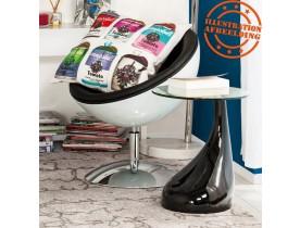 Design bijzettafel 'KOMA' met console uit doorzichtig glas en zwart gelakte voet