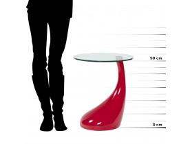 Design bijzettafel 'KOMA' met console uit doorzichtig glas en rood gelakte voet