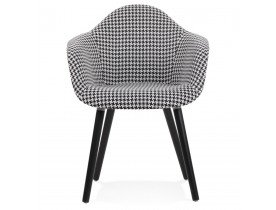 Stoffen design stoel 'LARA' met armleuningen en zwart en witte pied-de-poule-print