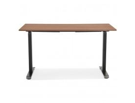 Rechte zit-/stabureau 'LIVELLO' met notenhouten afwerking en zwart metaal - 140x70 cm