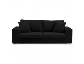 Rechte design canapé 'LUCA LARGE' in zwarte stof- Zitbank 2,5 plaatsen