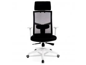 Design bureaustoel 'MATILDA' van zwarte stof met wit frame