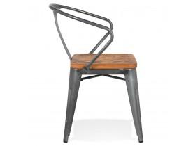 Donkergrijze metalen industriële stoel 'METROPOLIS' - bestel per 2 stuks / prijs voor 1 stuk