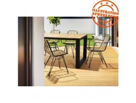 Eettafel 'LOMOK' van massief hout en zwart metaal voor binnen en buiten - 240x100 cm