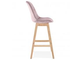 Barkruk 'MORISS' in roze fluweel met poten in natuurlijk hout