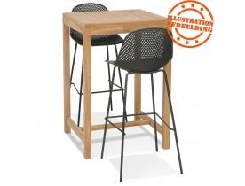 Hoge tafel 'MOUSTIK BAR' van natuurlijk teakhout voor binnen/buiten - 70x70 cm