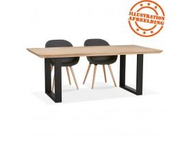 Eetkamertafel 'NATURA' van massief eikenhout met zwarte metalen poten - 200x100 cm