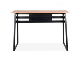 Hoge bartafel 'NIKI' van natuurlijk afgewerkt hout met zwarte metalen poot - 150x60 cm