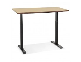 In hoogte verstelbare bureau 'NOVELLA' van natuurkleurig afgewerkte hout en zwart metaal - 150x70 cm