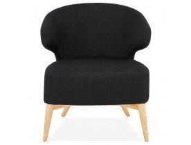 ODILE' loungestoel in zwarte stof en natuurlijke poten van natuurlijk hout