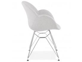Moderne stoel 'ORIGAMI' in lichtgrijze stof met verchroomd metalen onderstel