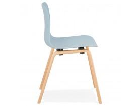 Scandinavische stoel 'PACIFIK' blauw met natuurlijk houten poten