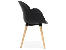 Zwarte stoel met Scandinavisch design 'PICATA' met houten poten