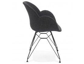 Designstoel 'PLANET' in donkergrijze stof met zwart metalen voeten