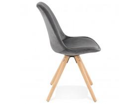 Vintage 'RICKY' stoel in grijs fluweel met poten in natuurlijk hout