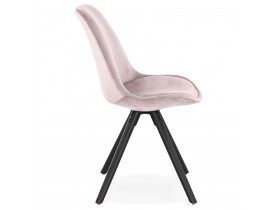 Vintage stoel 'RICKY' in roze fluweel en poten in zwart hout