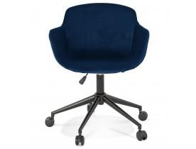 Bureaustoel 'ROLLING' van blauwe velours op wieltjes