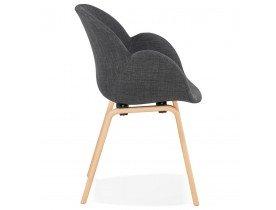 Design stoel met armleuningen 'SAMY' van grijze stof Scandinavische stijl
