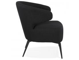 SOTO' design lounge stoel in zwarte stof en zwarte metalen poten