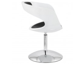 Design draaistoel 'SPACE' uit zwart imitatieleder met witte zitschaal