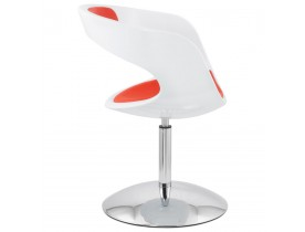 Design draaistoel 'SPACE' uit rood imitatieleder met witte zitschaal