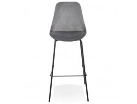 Tabouret de bar 'SPARK' en velours gris et pieds en métal noir