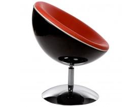 Bolvormige zwart en rode 360° draaibare design zetel 'SPHERA'
