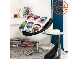 Bolvormige wit en zwarte 360° draaibare design zetel 'SPHERA'