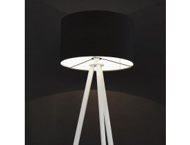 Staande lamp op driepoot 'SPRING' met zwarte lampenkap en 3 witte poten