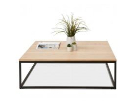 Grote industriële salontafel 'TRIBECA' van natuurlijk afgewerkt hout en zwart metaal