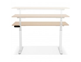 Witte elektrische zit/sta-bureau 'TRONIK' met blad in natuurlijke houtafwerking - 140x70 cm