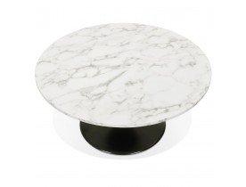 Lage salontafel 'URSUS MINI' van wit gemarmerde steen met een zwarte centrale poot