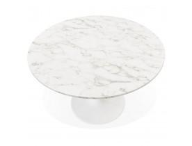 Ronde eettafel 'WITNEY' van wit marmer en wit metaal - Ø 120 cm