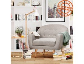 Gecapitonneerde fauteuil voor de woonkamer met 1 zitplaats 'WINSTON MINI' in grijze stof