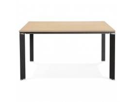 Vergadertafel / bench-bureau 'XLINE SQUARE' met natuurlijke houten afwerking en zwart metaal - 140x140 cm