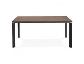 Vergadertafel / bench-bureau 'XLINE SQUARE' met notenhouten afwerking en zwart metaal - 160x160 cm