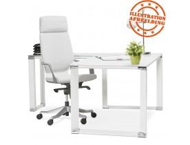 Design, hoekvormig directiebureau 'XLINE' van wit glas (hoek naar keuze) - 160 cm