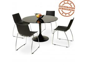 Ronde, zwarte design eettafel 'ALEXIA' - Ø 120 cm