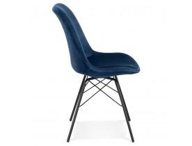 Design stoel 'ZAZY' van blauwe fluweel met zwarte metalen poten