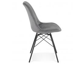 Design stoel 'ZAZY' van grijze fluweel met zwarte metalen poten