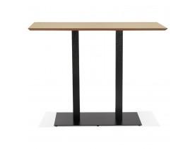 Hoge design tafel 'ZUMBA BAR' van natuurlijk afgewerkt hout met zwarte metalen poot - 150x70 cm