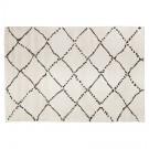 Wit Berbers tapijt 'BERAN' met zwarte motieven - 200x290 cm