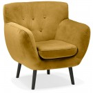 Mosterdgele fluwelen loungefauteuil 'OPERA MINI' - 1 zitplaats
