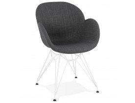 Moderne stoel 'ATOL' met donkergrijze stof en wit metalen poten