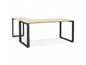 Design hoekbureau 'BAKUS' van natuurkleurig afgewerkte hout en zwart metaal - 160 cm