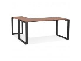 Design hoekbureau 'BAKUS' met notenhouten afwerking en zwart metaal - 160 cm