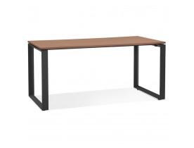 Rechte design bureau 'BAKUS' met notenhouten afwerking en zwart metaal - 160x80 cm