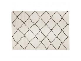 Wit Berbers tapijt 'BERAN' met zwarte motieven - 120x170 cm