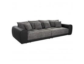 Grote, rechte zitbank 'BYOUTY' zwart met 4 zitplaatsen in imitatieleer en chenille stof